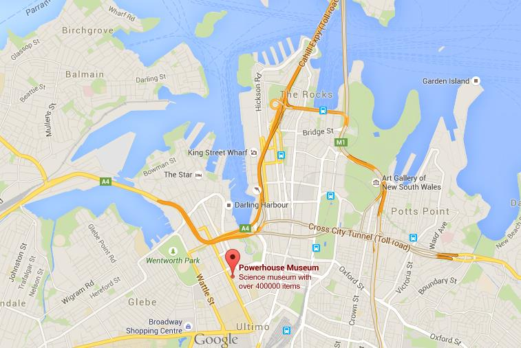 Where is Powerhouse Museum on map of Sydney World Easy Guides