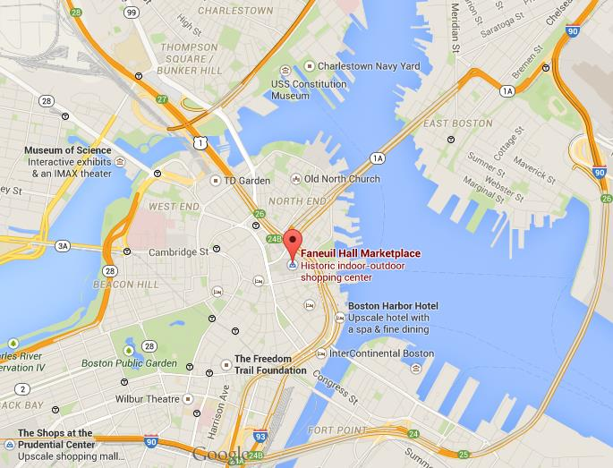 Where is Quincy Market on map Boston on