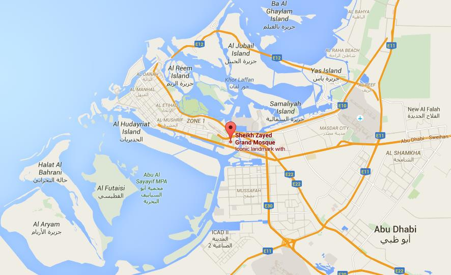 where is sheikh zayed mosque on map abu dhabi