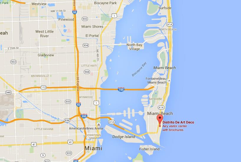 Where is Art Deco District on map Miami Beach World Easy Guides