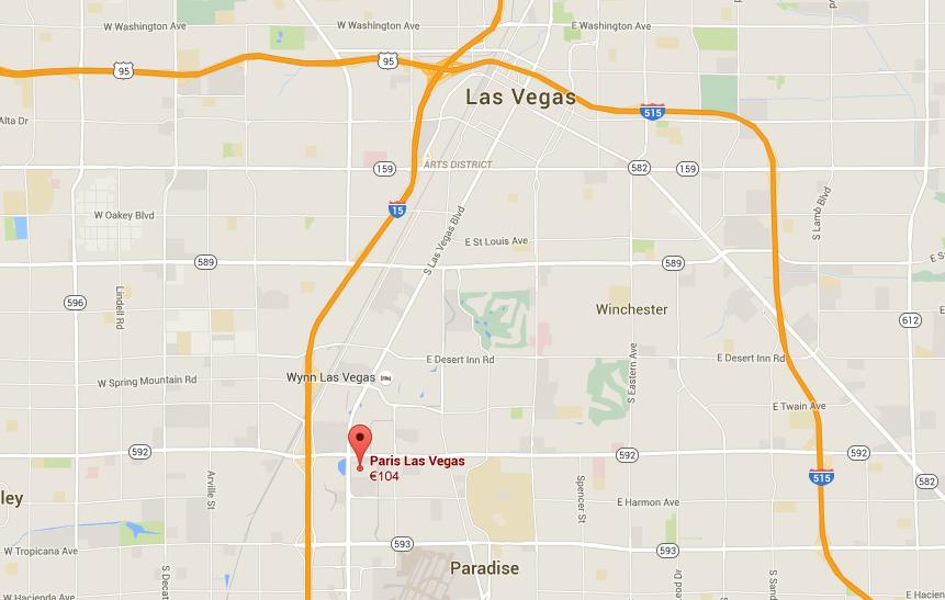 Where is Paris Hotel on map Las Vegas on
