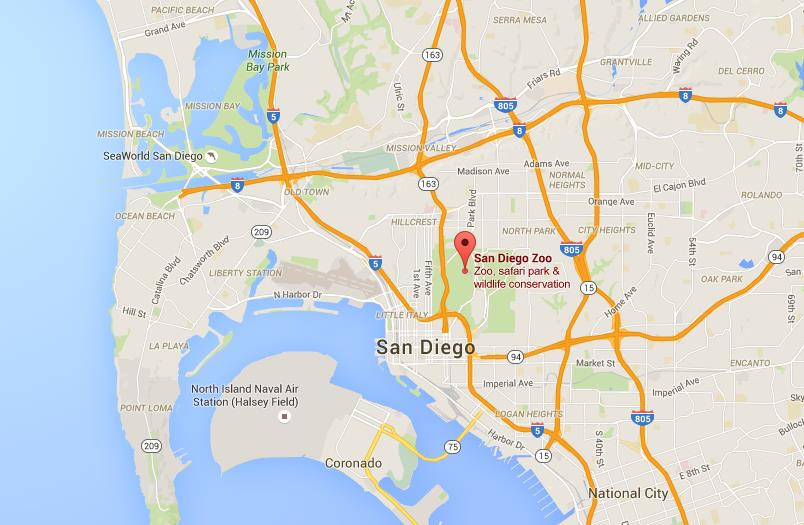 where is san diego zoo on map