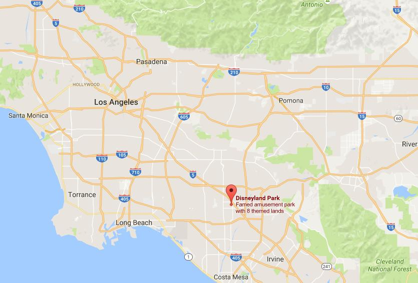 Where is Disneyland Resort on map Los Angeles  World Easy Guides