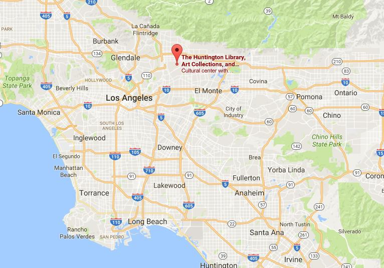Where is Huntington Library Art Collections on map Los Angeles