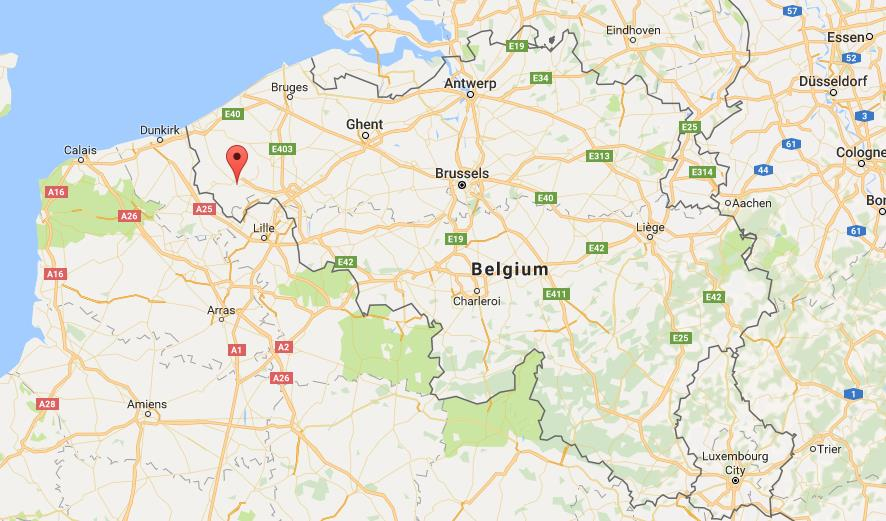 where is ypres on map belgium