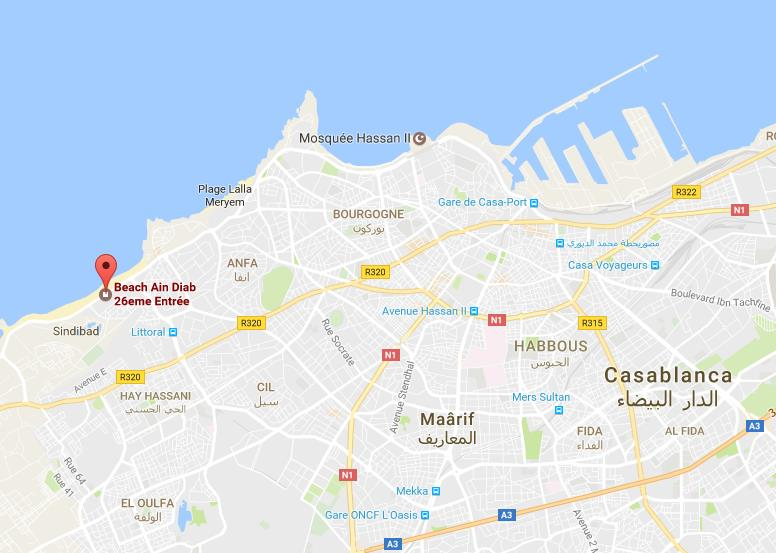 Where is Ain Diab Beach on map Casablanca