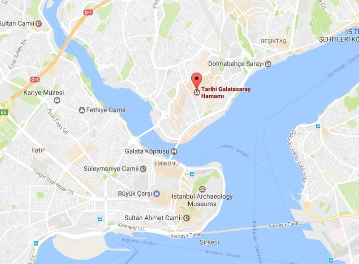 Where is Galatasaray Baths on map Istanbul