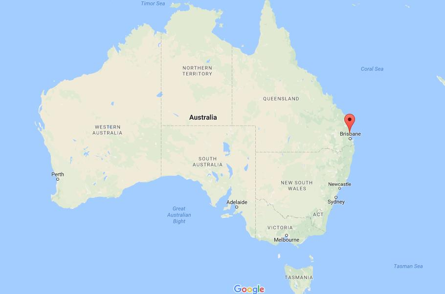 Where are Glass House Mountains on map Australia