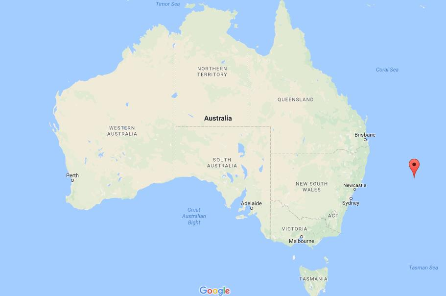 Where is Balls Pyramid on map Australia World Easy Guides