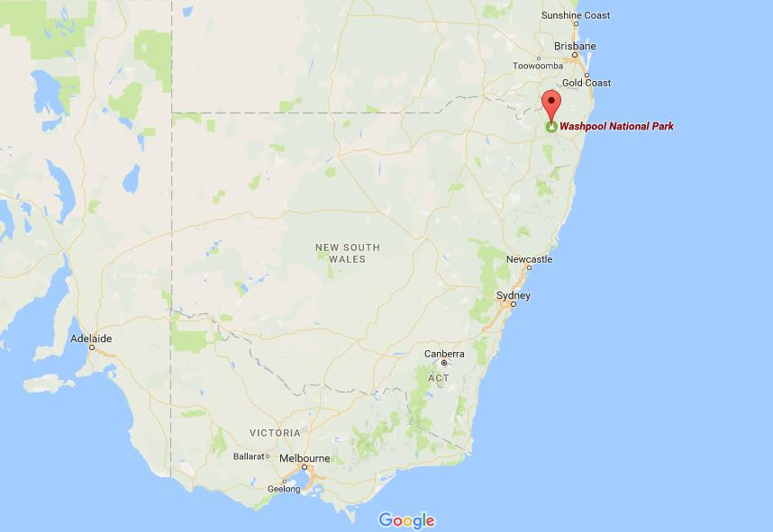 Where is Washpool National Park on map New South Wales