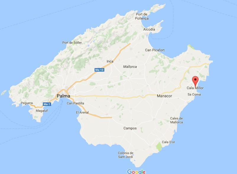 Where is Cala Millor on map of Mallorca