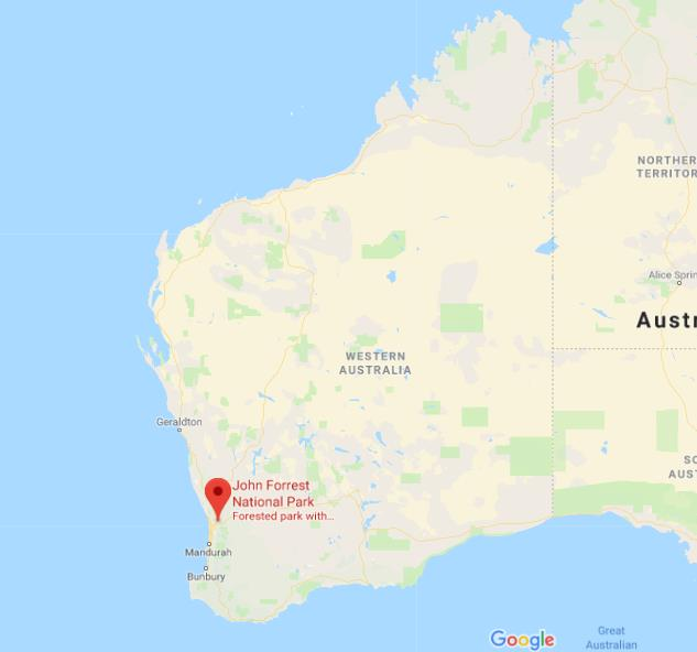 Where is John Forrest National Park on map of Western Australia