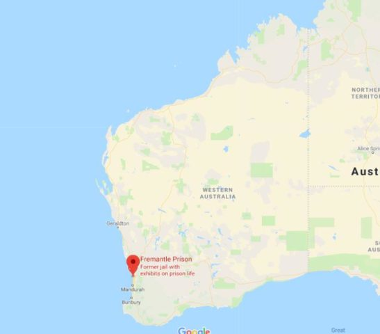 location of fremantle on map of western australia