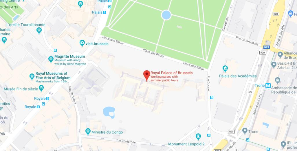 Map of Royal Palace of Brussels