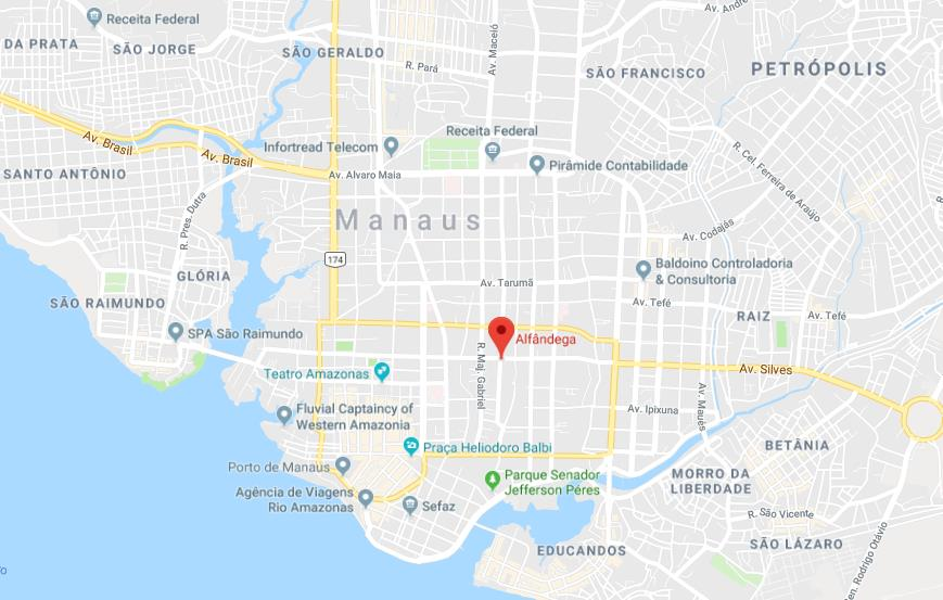 Where is Alfandega Building on map of Manaus