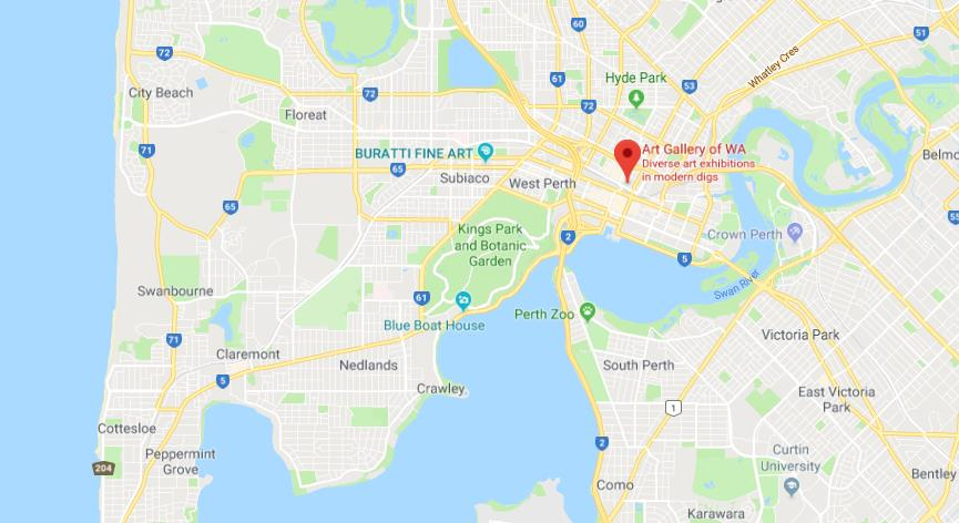 where is art gallery of western australia on map of perth