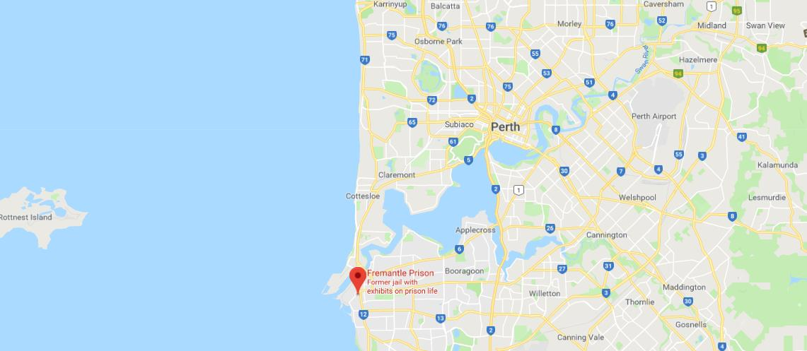 where is fremantle prison located on map of perth