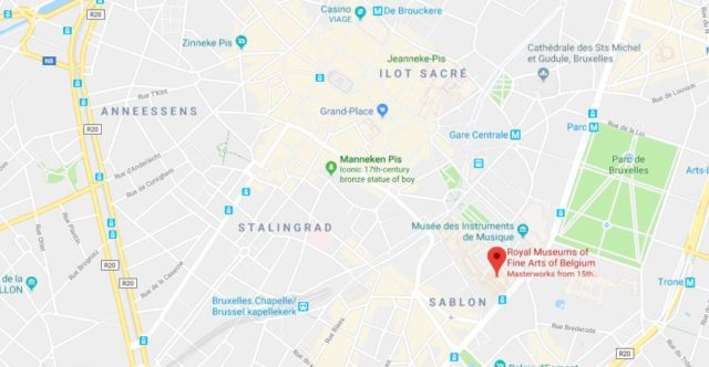 where is royal museums of fine arts of belgium located on map of brussels