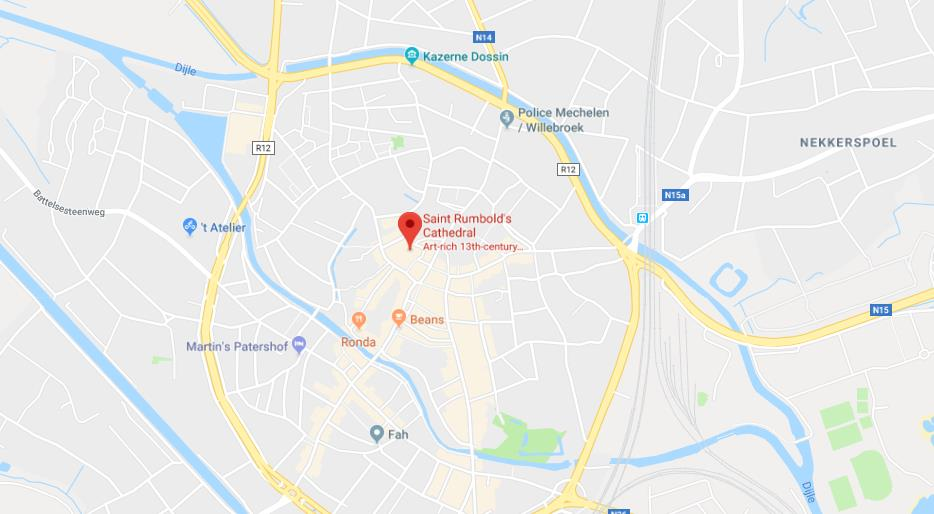 Where is St Rumbolds Cathedral on map of Mechelen World Easy Guides