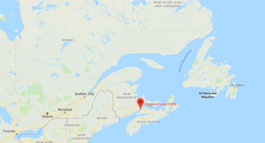 where is joggins fossil cliffs on map of east canada
