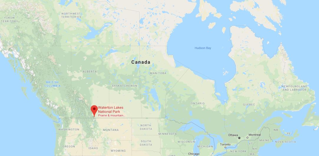Where is Waterton Lakes National Park on map of Canada