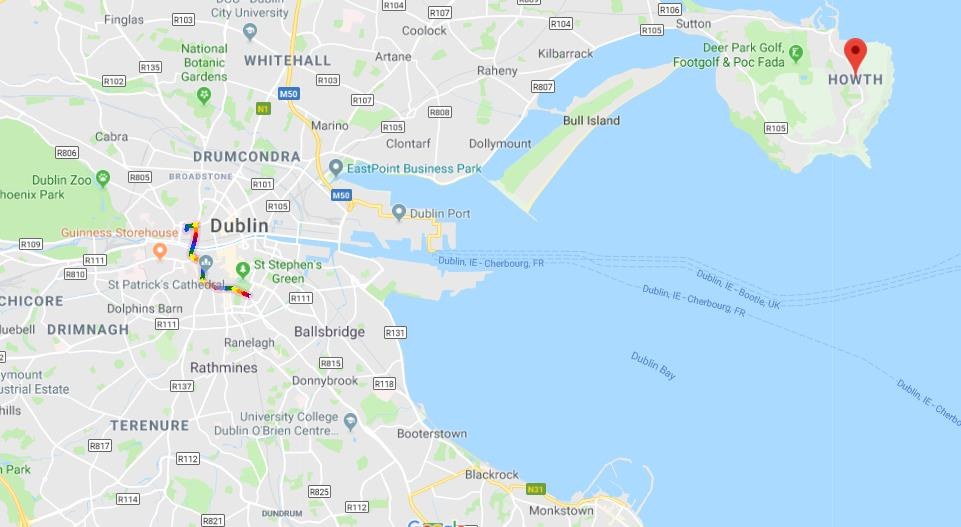 Where is Howth on map of Dublin