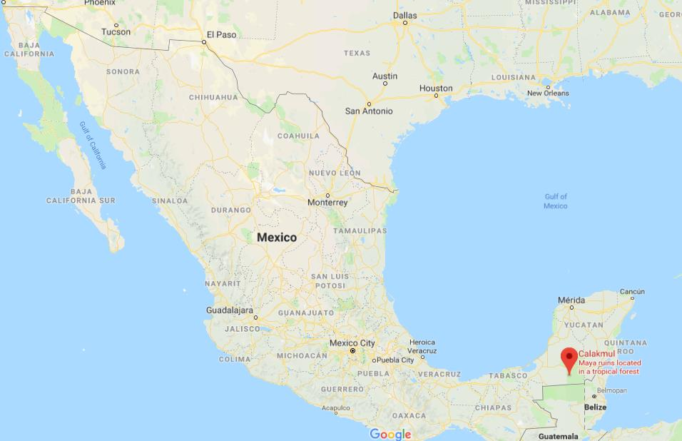 Where is Calakmul on map of Mexico