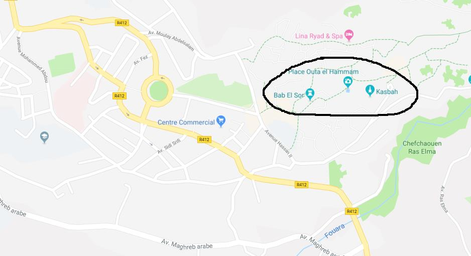 Where is the Medina on map of Chefchaouen