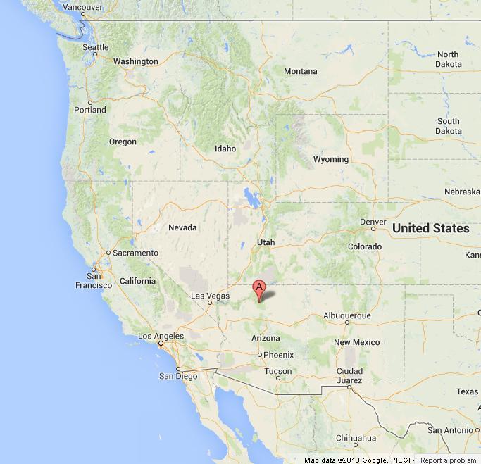 Grand Canyon on USA West Coast Map