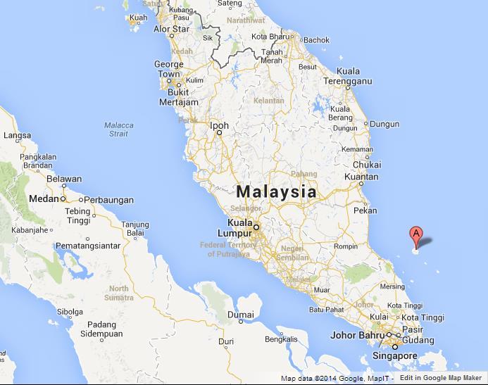 Tioman Malaysia Map Tioman Island on Map of Malaysia