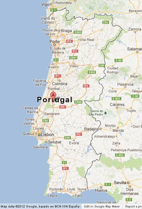 Fatima Portugal Map Fatima on Portugal Map