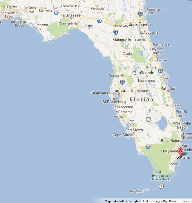 Miami On Map Miami Beach on Map of Florida