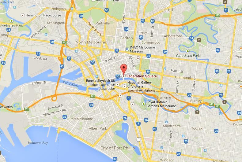 Federation Square Map Federation Square on Map of Melbourne