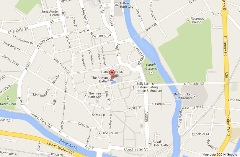Bath On Map Roman Baths on Map of Bath