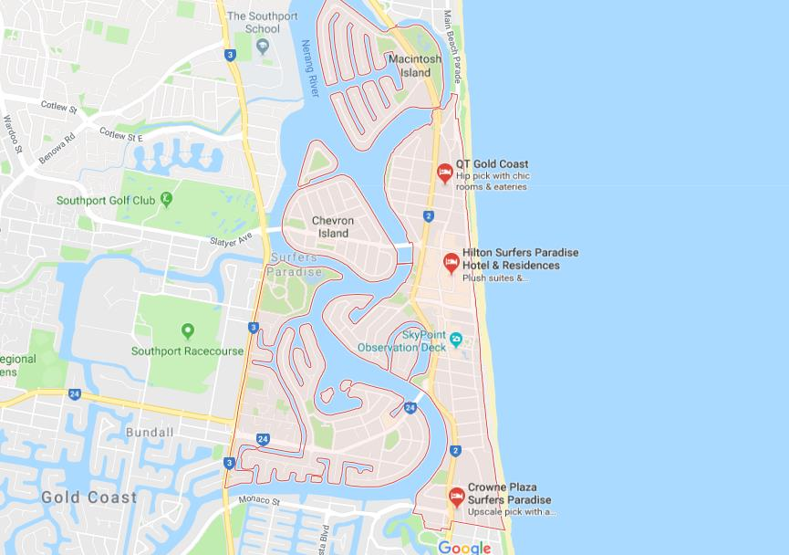Surfers Paradise Map Map of Surfers Paradise